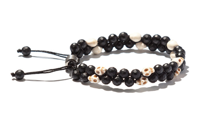 Two Row Handwoven Skulls with Onyx bracelet