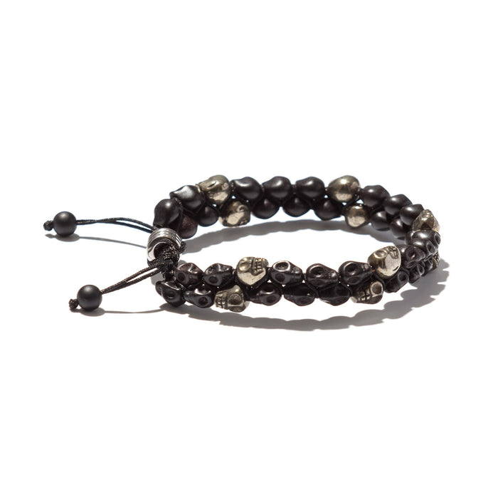 Two Row Handwoven Onyx and Pyrite Skulls Bracelet