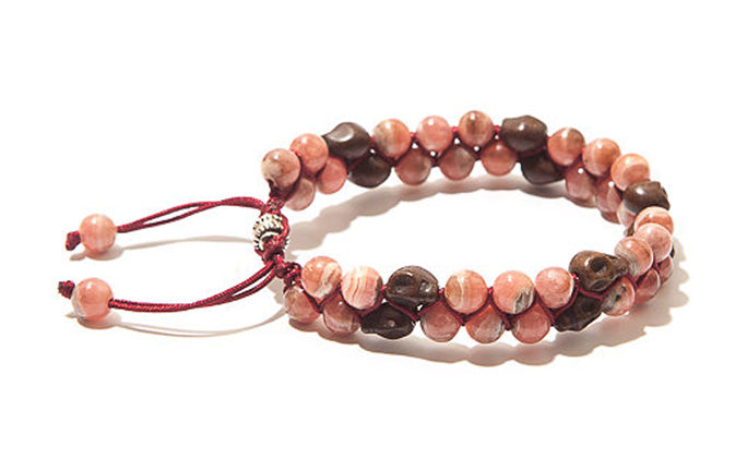 Double Row Rhodonite with Skulls Bracelet