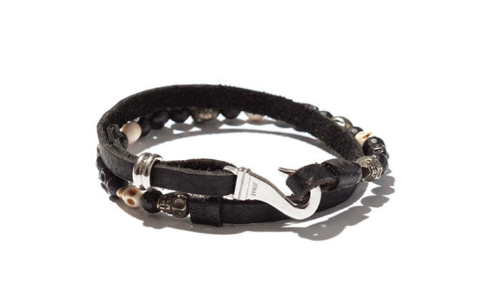 Mixed Skulls with Leather Double Wrap Bracelet