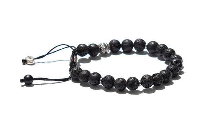 Lava Rock Bracelet with Decorative Silver Accents