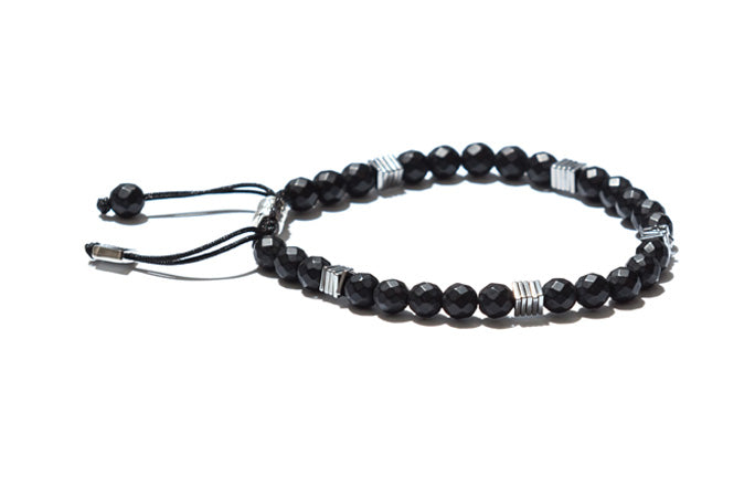Onyx with Hematite Sequin Bracelet and Silver Accents