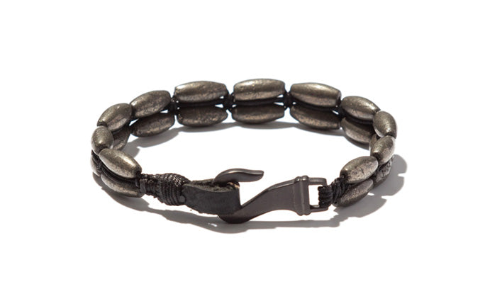 Two Row Handwoven Pyrite Cylinder Bracelet with Charcoal Hook