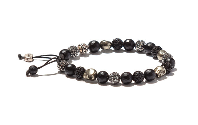 Onyx, Crystals and Skulls Bracelet with Silver