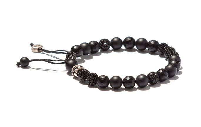 Onyx Bracelet with Crystals and Silver Elements