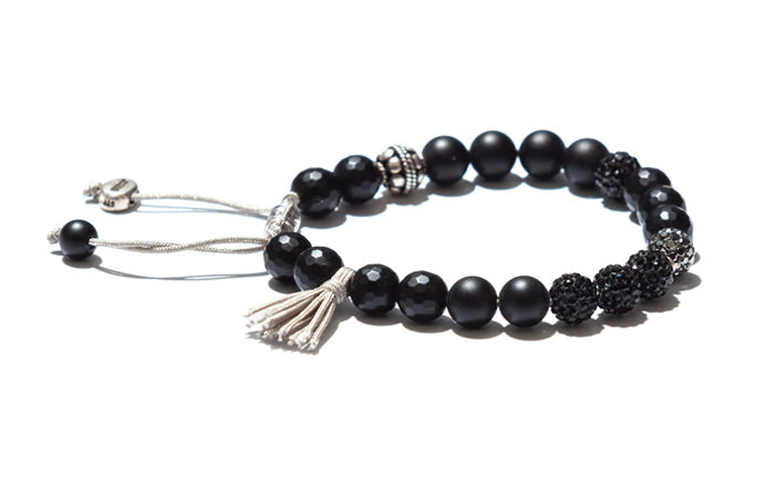 Onyx, Crystals and Gray Tassel Bracelet with Silver Accents
