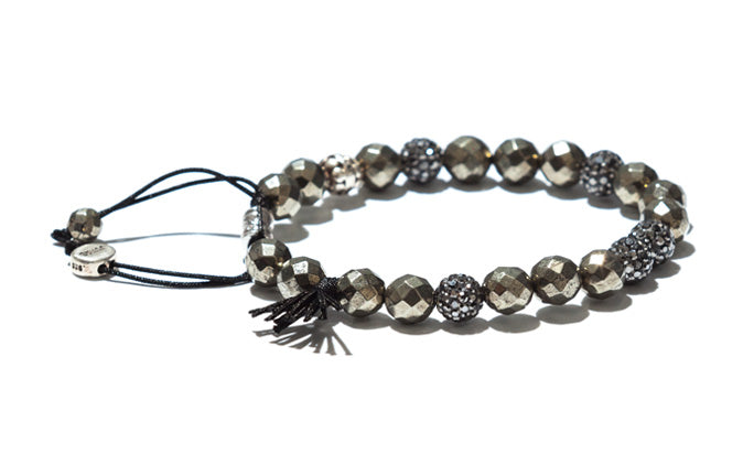 Pyrite, Crystal and Black Tassel Bracelet with Silver Accents