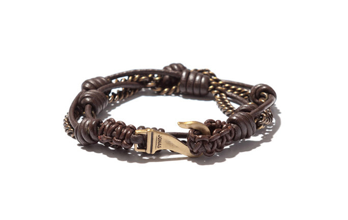 Handknotted Leather and Brass Double Wrap Bracelet