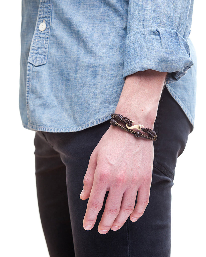 Brown leather mens hook bracelet with brass closure by Jonas Studio