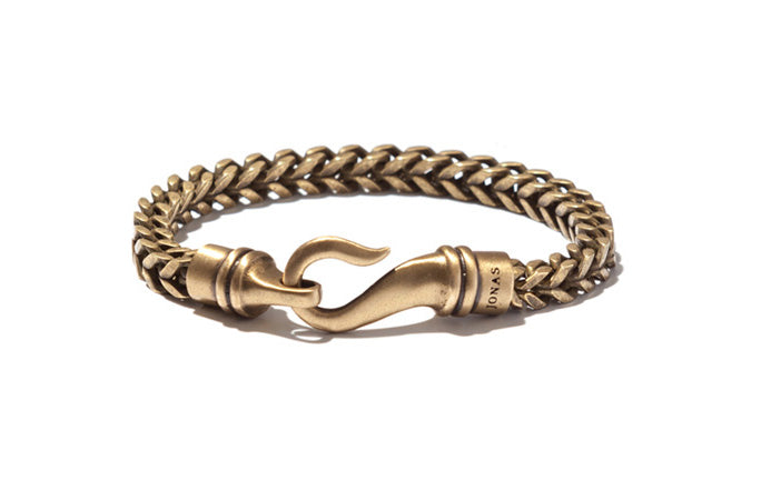 Squared Brass Herringbone Bracelet with Curved Hook