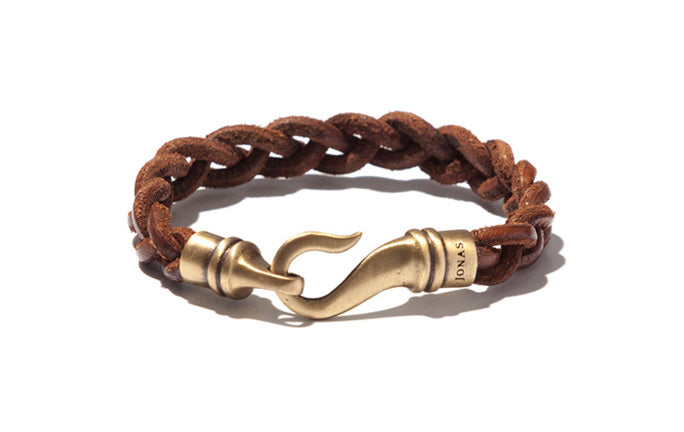 Handbraided Urban Leather Bracelet with Curved Brass Hook