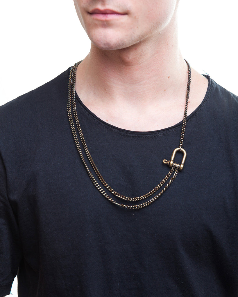 Two Row Brass Necklace for Men