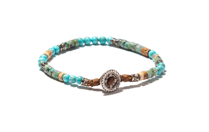 Mixed Turquoise Bracelet with Silver Button Closure