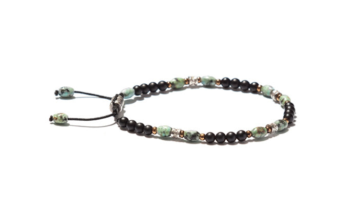 Narrow Mixed Beaded Bracelet Accented with Silver