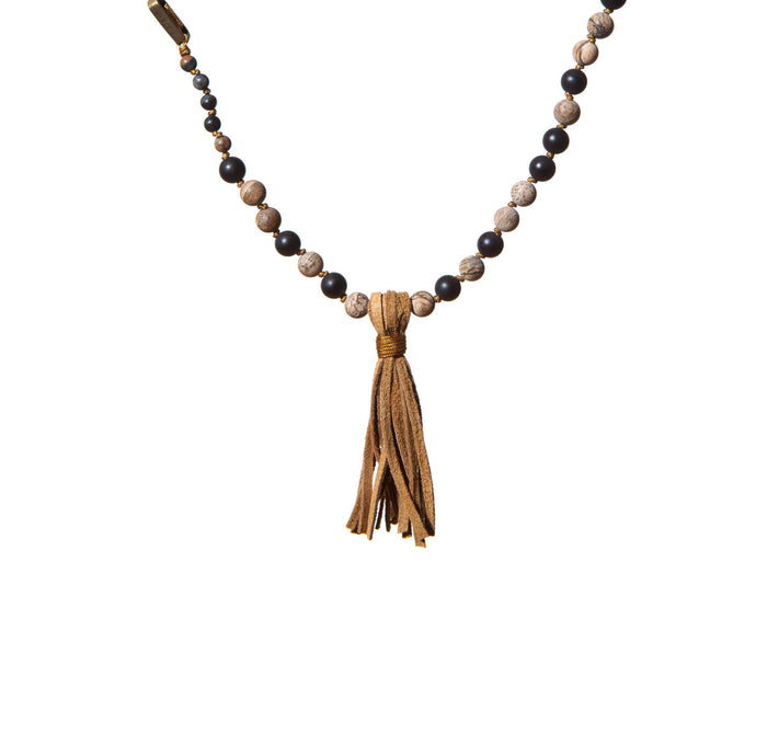 Mens Rosary Necklace with Suede Tassel