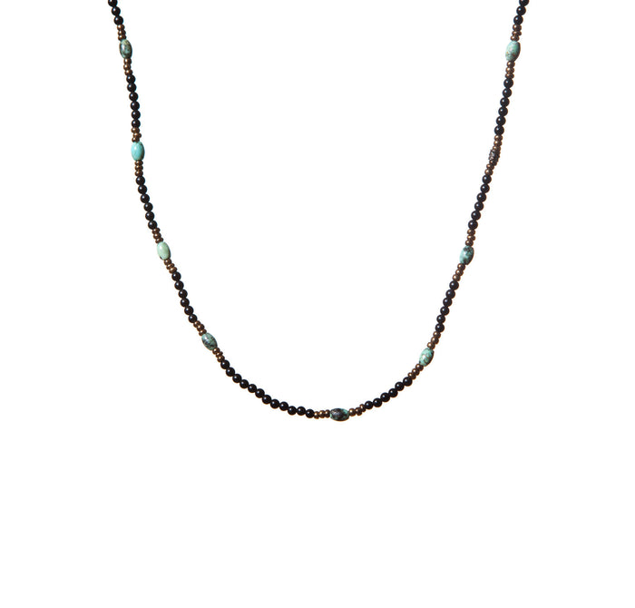 Turquoise and Onyx Patterned Necklace with Silver for Men