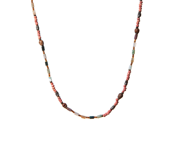 Semi Precious and Wood Bead Necklace with Wood Skulls and Silver Accents for Men