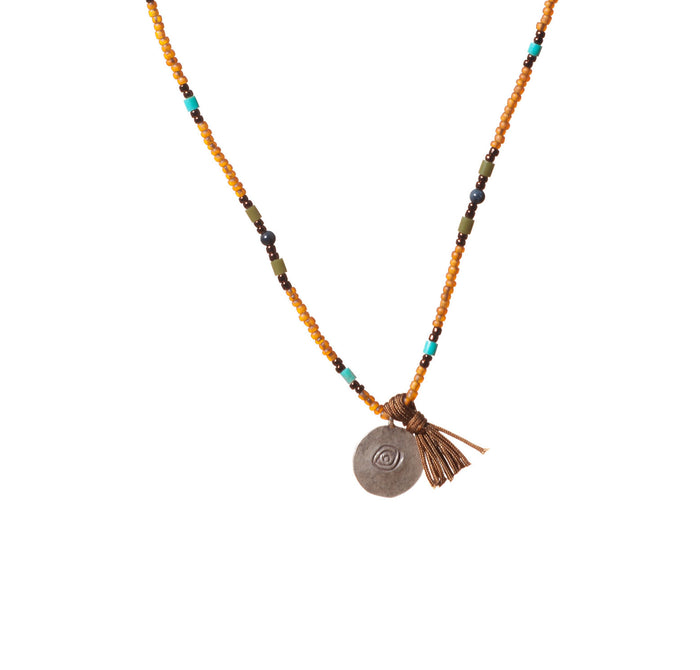 Mens Turquoise and Dumortierite Beaded Necklace with Silver Evil Eye and Tassel Pendant