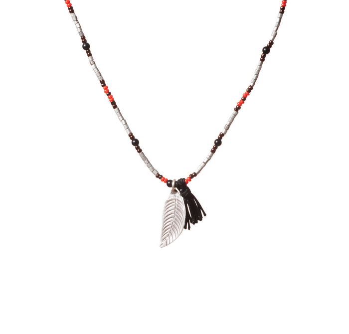 Onyx and Glass Beaded Necklace with Sterling Silver Leaf and Tassel Pendant