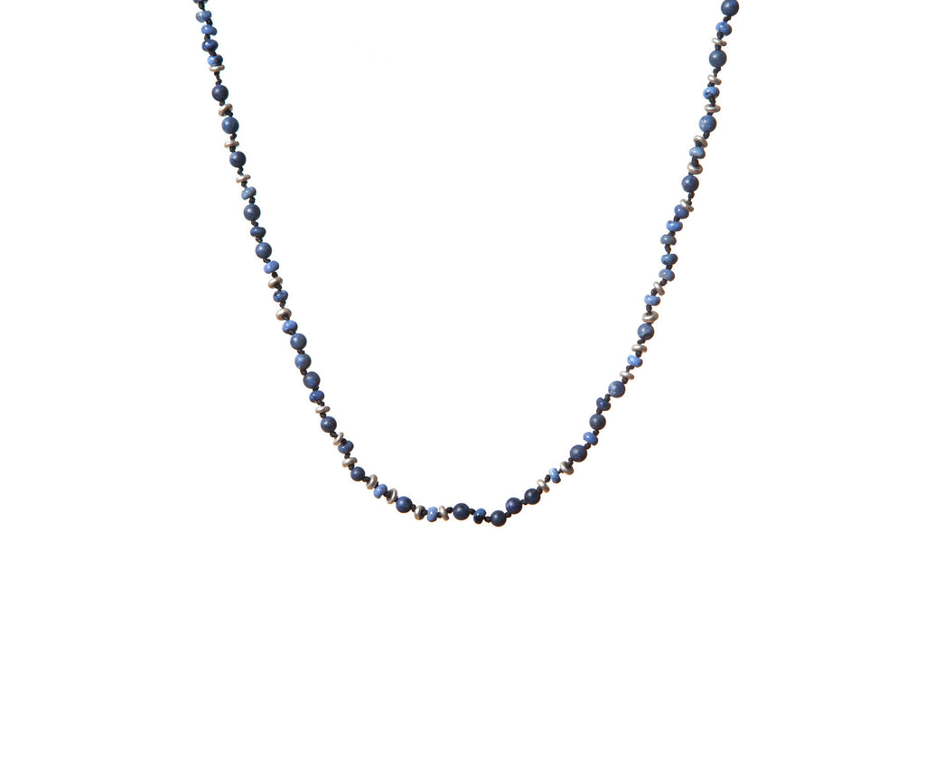 Dumortierite Handknotted Silver Irregular Shaped Discs Necklace