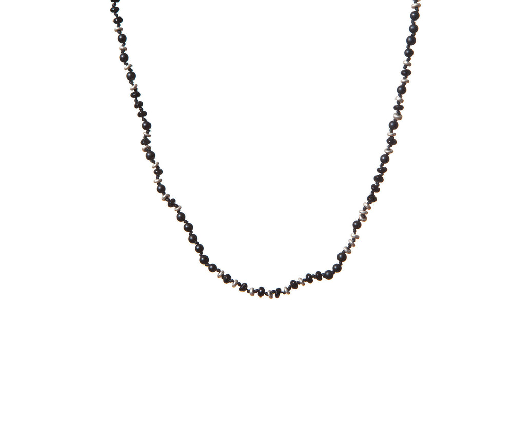 Onyx Handknotted Silver Irregular Shaped Discs Necklace