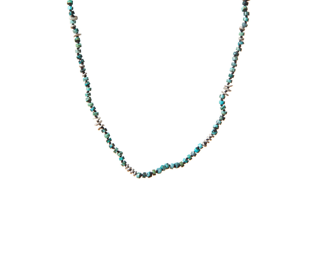 Turquoise Handknotted Silver Irregular Shaped Discs Necklace