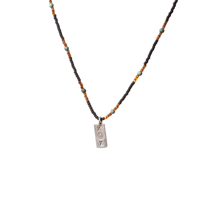 Mens Turquoise Mix Beaded Necklace with Etched Silver Charm