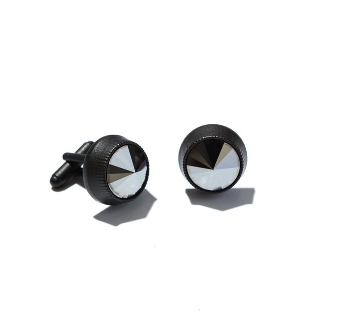 Swarovski hematite crystal mens cufflinks in satin black