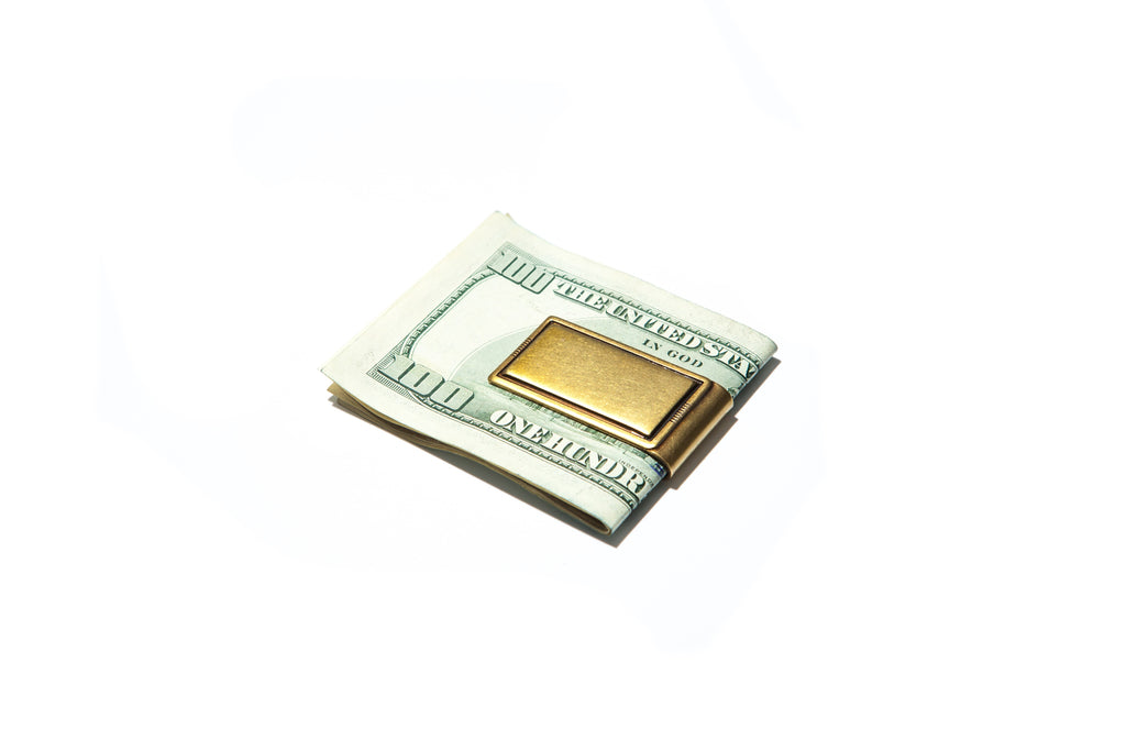 Mens Outlined Money Clip in Brass