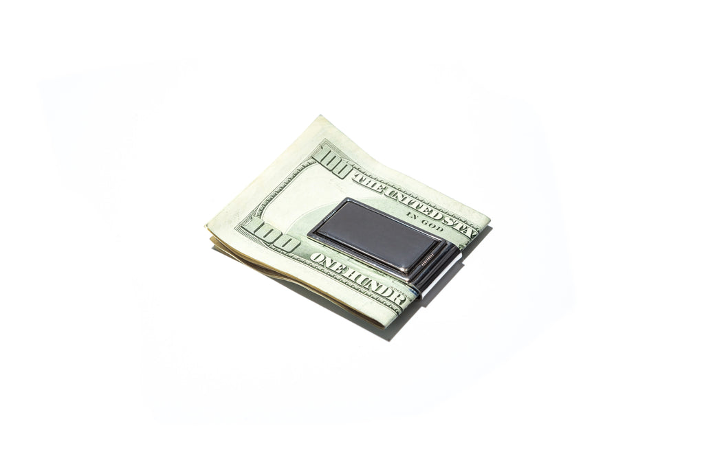 Mens Outlined Money Clip in Silver