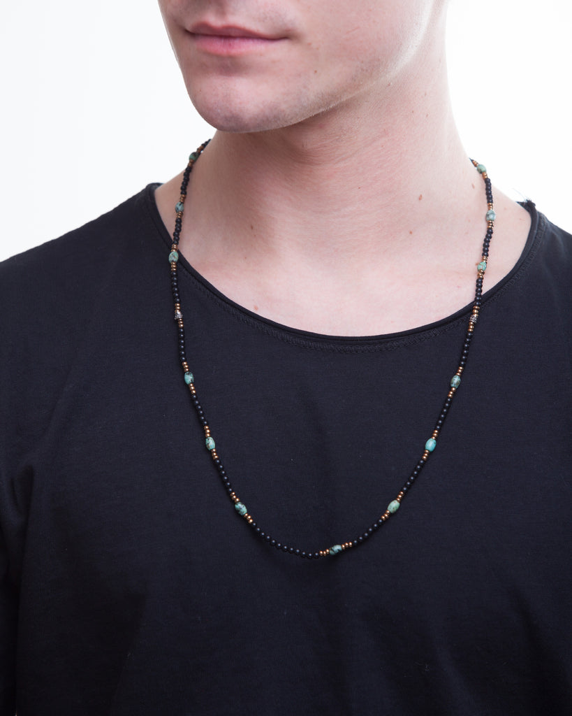 Mens Onyx and Turquoise Patterned Necklace with Silver - Male Model