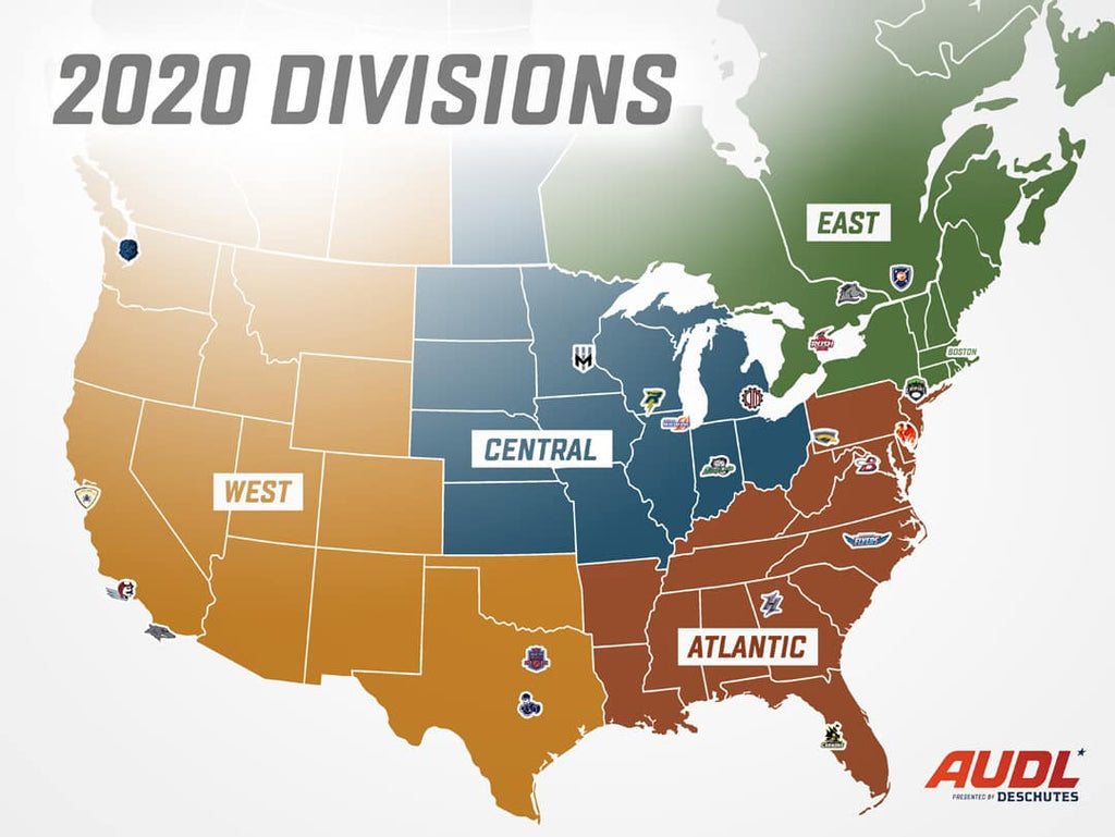 AUDL 2020 Division Realignment: East West Midwest and New Atlantic Division