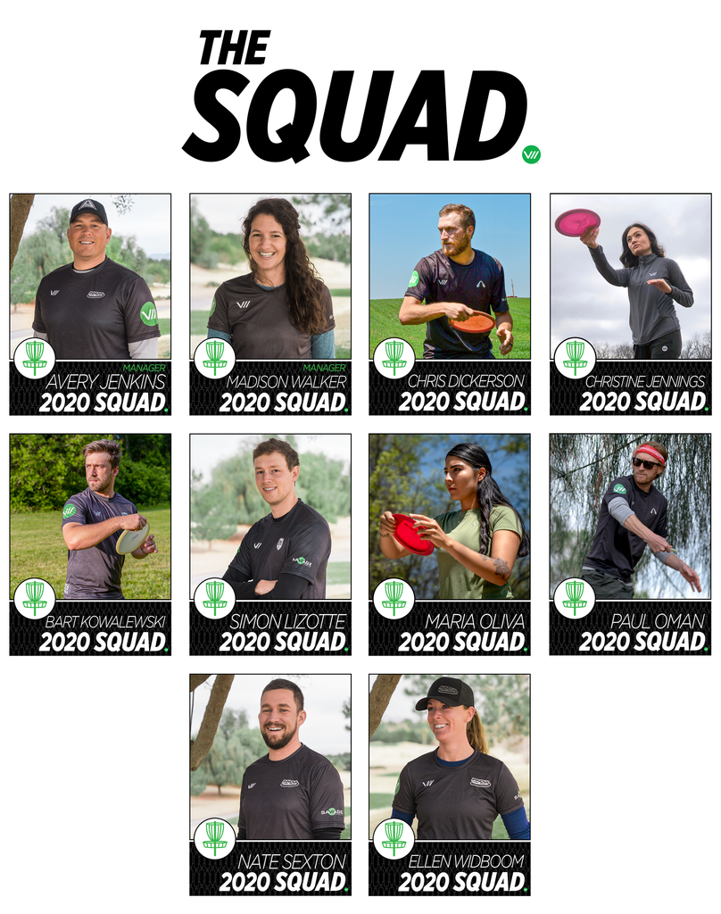 2020 Savage Squad Elite Touring Disc Golf Players Avery Jenkins Madison Walker Chris Dickerson PDGA DGPT