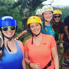In the rainforest canopy during the Ecoglide zip line tour