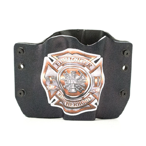 Image of Fire Fighter Brotherhood Emblem on Flag on Kydex Gun Holster