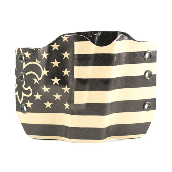 Fleur de Lis Emblem on Kydex Holster with USA Flag Background