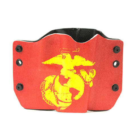 Image of Yellow Ancor on Red Background on Kydex Gun Holster