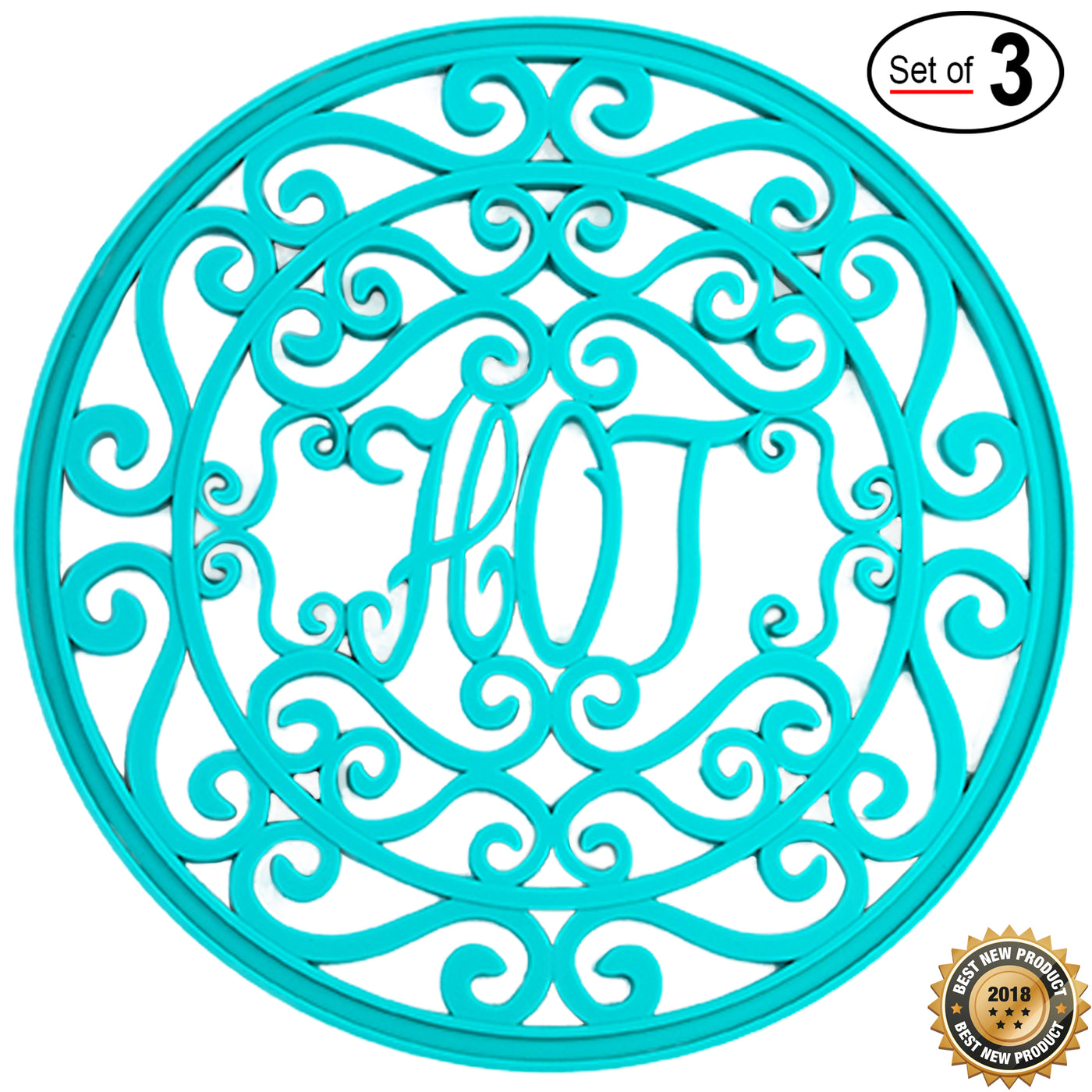 Premium Silicone Trivet Set For Hot Dishes, Pots & Pans; 'Hot Ironworks' Design Mimics Cast Iron Trivets (7.5 inches)