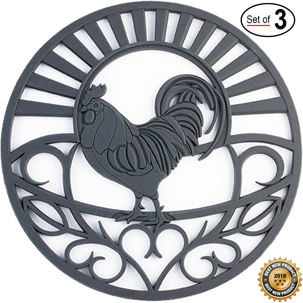 Premium Silicone Trivet Set For Hot Dishes, Pots & Pans. 'Country Rooster' Design Mimics Cast Iron Trivets (7.5 in Round, Set of 3, 4 colors to choose from)