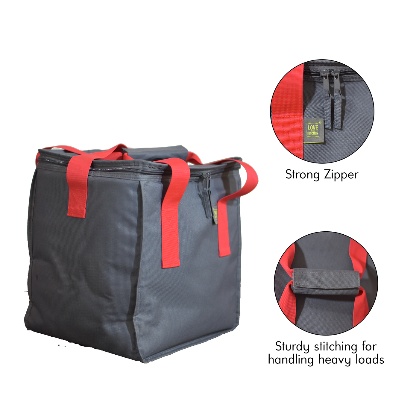 The Ultimate Insulated Cooler Box w/ a Zippered Top & Dual Handles for Shopping Groceries. Cool Beach & Picnic Bag