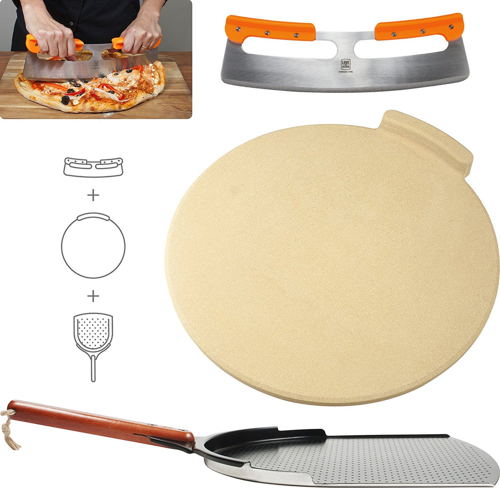 "The Ultimate Pizza Making Tools – Classic 16"" Round Pizza Stone, 14"" Aluminum Pizza Peel and 14"" Stainless Steel Rocker Cutter"