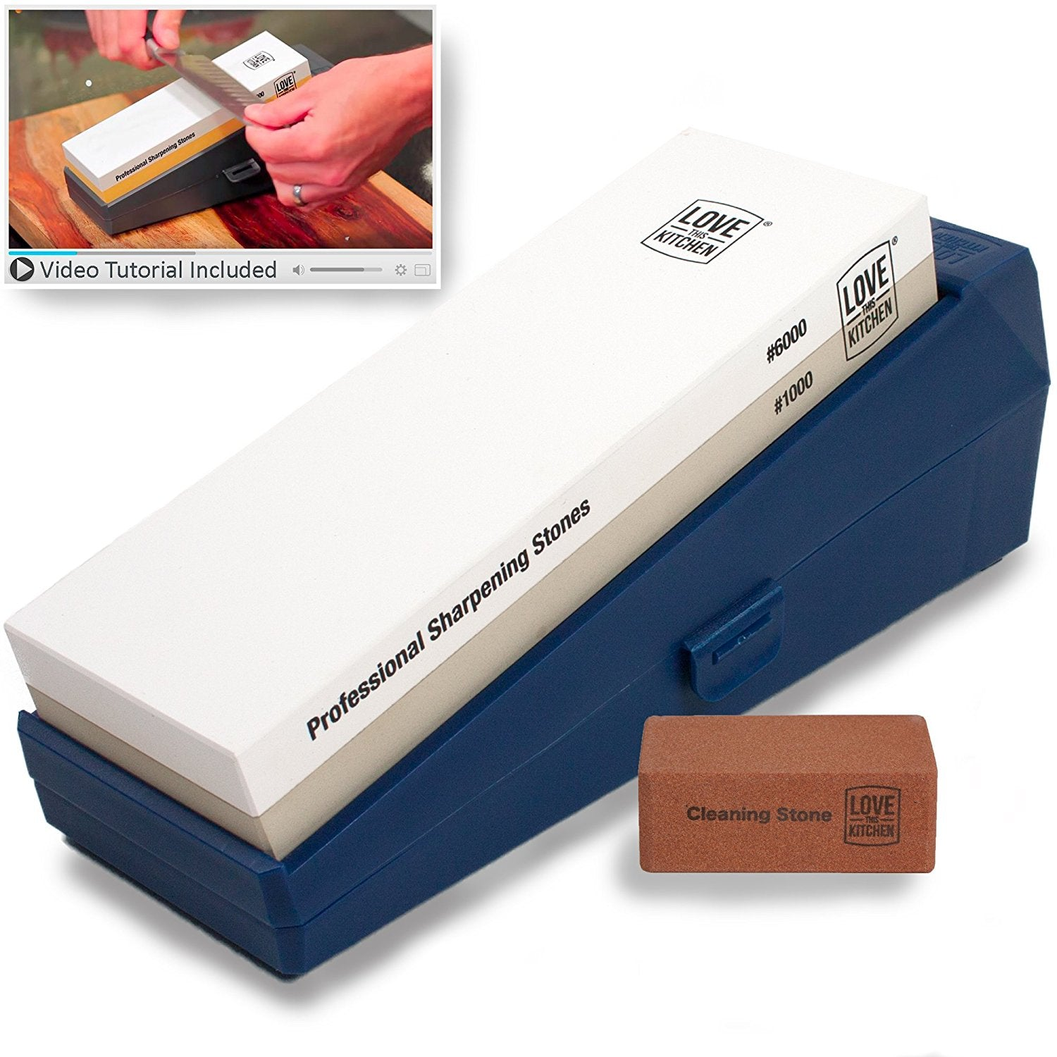 Knife Sharpener Stone Kit, Professional Grade Grits 1000/6000. For Chef, Kitchen & Outdoor Knives