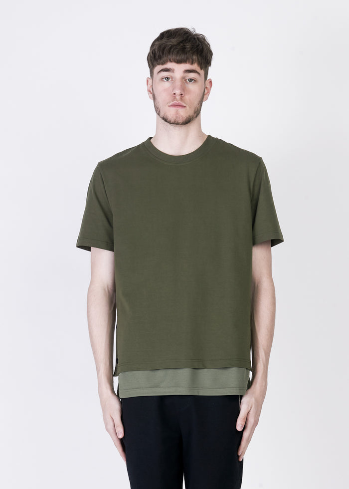 Double Layer Tee With Button Sides in Khaki