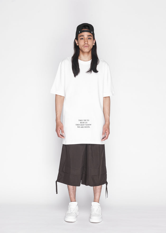 Back Ribbon Oversized Tee in Ivory