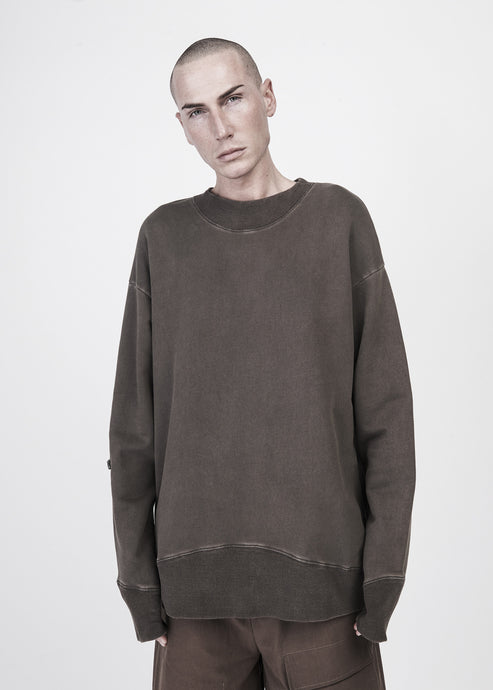 Heavy Washed Distressed Crewneck in Pine - CGNY