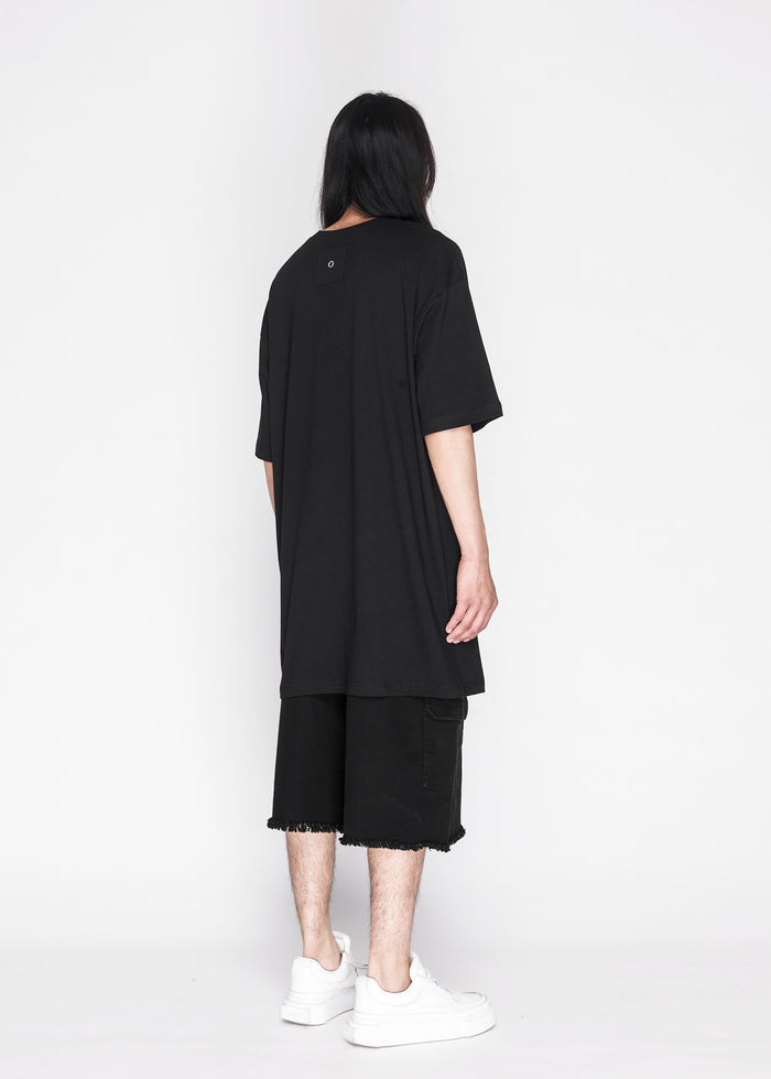 Longline Side Slit Tee in Black