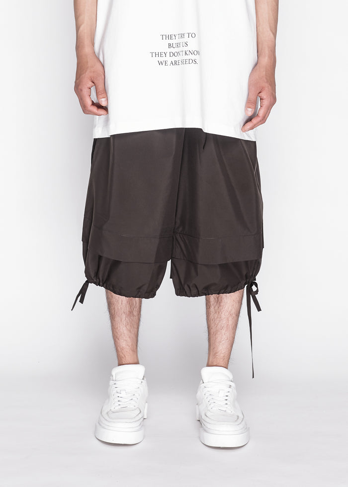 Jersey Shorts With Drawstring Detailing in Umber
