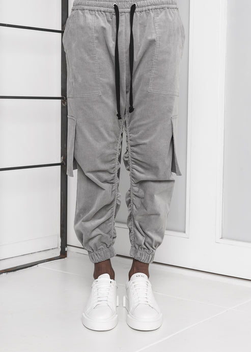 Corduroy Jogger Pants in Grey - CGNY