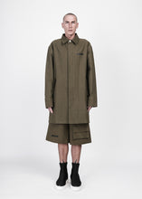 Load image into Gallery viewer, Longline Twill Jacket with Multi-Pockets in Olive - CGNY