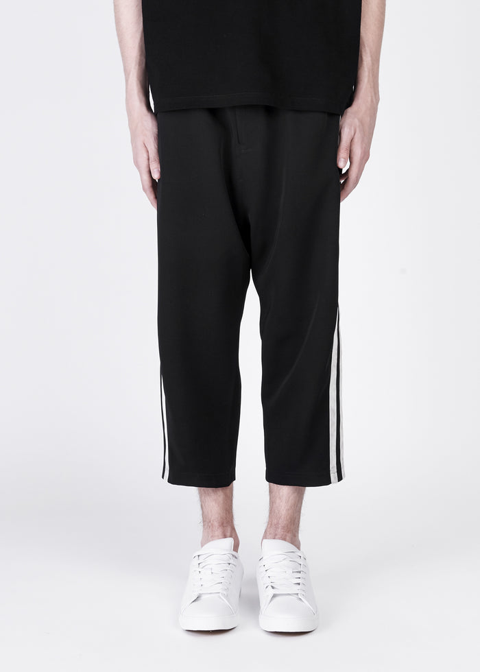 Cropped Smart Pants With Side Stripes in Velvet